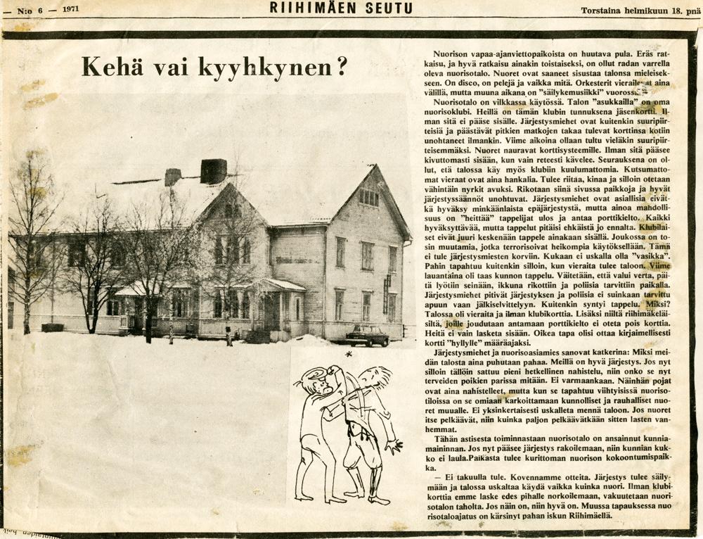 Riihimäen Seutu 18.2.1971. Nuorisopalveluiden leikekirja.