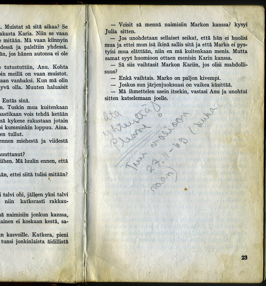 """Tuulikki Alstan nuorisoromaanin """"Vakavat Leikit"""" (1966) sivulle 23 on joku 1960-luvun lopulla kirjan lainannut kirjoittanut seuranhakuilmoituksen! Kirjan tapahtumapaikkana toimineen Katriina baarin sijaan kirjoittaja toivoo tapaamista Valion baarissa. Kirja Riihimäen kaupunginkirjasto."""