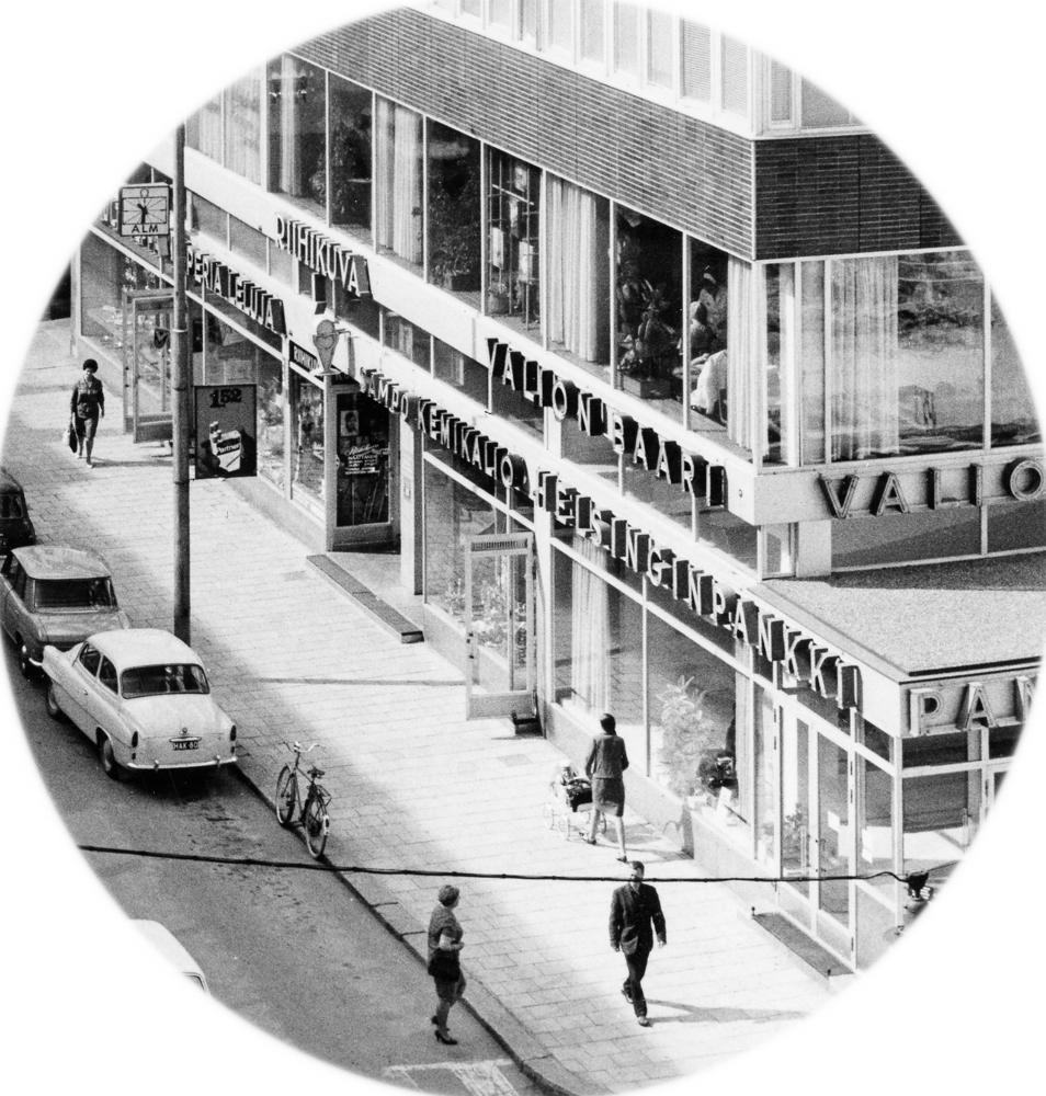 Yksityiskohta, jossa näkee Valion baarin sijainnin Hämeenkadun ja Kauppakujan kulmassa. RKM-kokoelmat.