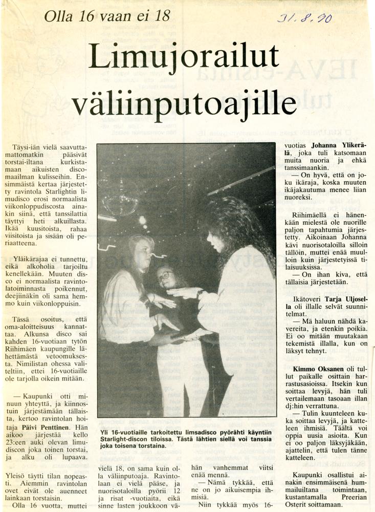 Lehtileike Starlightin limudiskosta vuodelta 1990. Merkkaamaton lehti, nuorisopalveluiden leikekirja.