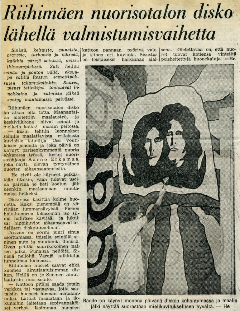 Nuopparin diskoremontista kertova lehtileike vuodelta 1970. Merkkaamaton lehti, nuorisopalveluiden leikekirja.