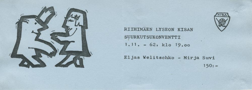Pääsylippu suurkutsukonventtiin vuonna 1962. KISAn leikekansio. RKM-kokoelmat.